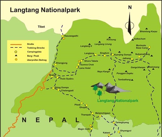 Langtang National Park in Nepal's map